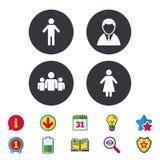 Значок персоны бизнесмена Символ группы людей Стоковая Фотография RF