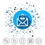 Значок печати почты Символ конверта Знак сообщения Стоковое Фото