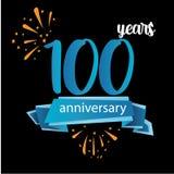 значок пиктограммы 100 годовщин, дня рождения леты ярлыка логотипа r Изолированный на черной предпосылке - векторе бесплатная иллюстрация