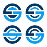 Значок письма O s g простой голубой Стоковая Фотография RF