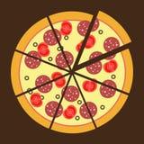 Значок пиццы плоский Стоковые Изображения RF