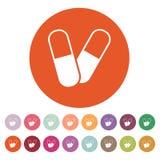 Значок пилюльки Таблетка и антибиотик, символ витаминов плоско Стоковые Изображения