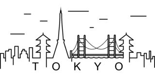 Значок плана Токио Смогите быть использовано для сети, логотипа, мобильного приложения, UI, UX иллюстрация вектора