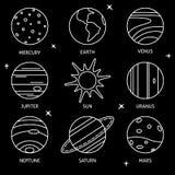 Значок планет солнечной системы установил в тонкую линию стиль Стоковые Фотографии RF