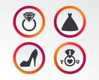 Значок платья свадьбы Символ ботинка ` s женщин Стоковая Фотография RF