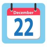 Значок плоский 22-ое декабря календаря Значок даты 22-ое декабря иллюстрация штока