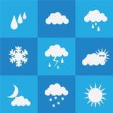 Значок погоды установленный на голубую предпосылку стоковое фото