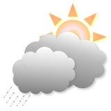 Значок погоды дождя и солнца Стоковые Изображения