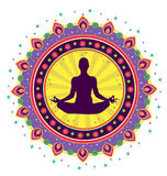 Значок позиции лотоса йоги Стоковое фото RF