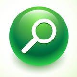 Значок поиска на зеленом шарике Стоковые Изображения RF