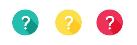 Значок помощи в зеленой желтой и красной предпосылке с длинным влиянием тени Простой, плоский дизайн, стиль твердых/глифе значков иллюстрация вектора