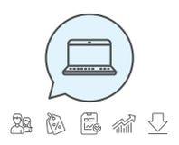 Значок портативного компьютера Знак тетради иллюстрация штока