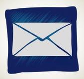 Значок почты вектора с белой предпосылкой Стоковые Фотографии RF
