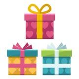 Значок подарочных коробок плоский Стоковое Изображение RF