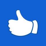 Значок поднимающего вверх жеста большого пальца руки плоский Стоковое Фото