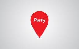 Значок положения отметки с текстом партии Бесплатная Иллюстрация