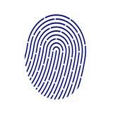 Значок применения ID Иллюстрация вектора отпечатка пальцев на белой предпосылке Стоковые Фотографии RF