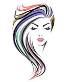 Значок прически женщин длинный, сторона женщин логотипа на белой предпосылке иллюстрация штока