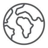 Значок проведенной в земле кабельной линии, мир и землеведение, знак планеты, векторные графики, линейная картина на белой предпо иллюстрация вектора