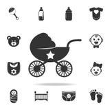 значок прогулочной коляски Комплект значков игрушек ребенка и младенца Графический дизайн значков сети наградной качественный Зна стоковое фото