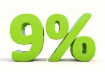 значок процентной ставки 9% на белой предпосылке Стоковое Изображение RF