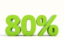 значок процентной ставки 80% на белой предпосылке Стоковое Изображение RF