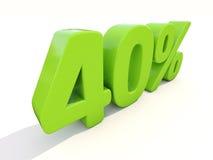 значок процентной ставки 40% на белой предпосылке Стоковые Изображения RF