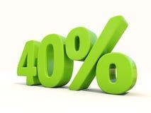 значок процентной ставки 40% на белой предпосылке Стоковое Фото