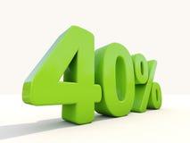 значок процентной ставки 40% на белой предпосылке Стоковое фото RF
