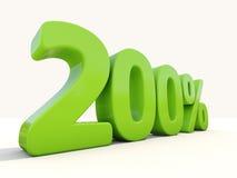 значок процентной ставки 200% на белой предпосылке Стоковое фото RF