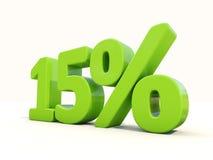 значок процентной ставки 15% на белой предпосылке Стоковое Изображение RF