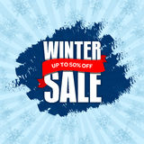 Значок продажи зимы, ярлык, шаблон знамени promo До 50% С d Стоковые Изображения RF