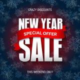 Значок продажи Нового Года, ярлык, шаблон знамени promo Специальное предложение иллюстрация штока