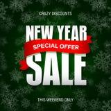 Значок продажи Нового Года, ярлык, шаблон знамени promo Специальное предложение Стоковое Фото