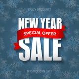 Значок продажи Нового Года, ярлык, шаблон знамени promo Специальное предложение Стоковая Фотография