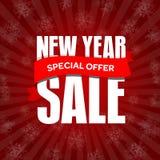 Значок продажи Нового Года, ярлык, шаблон знамени promo Специальное предложение Стоковая Фотография RF
