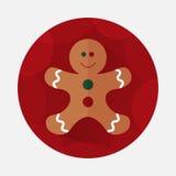 Значок пряника рождества плоский с длинной тенью Стоковое Изображение