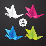 Значок птицы крана origami вектора бумажный Красочный origamy комплект Бумажный дизайн для вашего фирменного стиля Стоковое Изображение RF