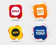 Значок пузыря речи продажи Спасибо символ Стоковые Фото