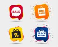 Значок пузыря речи продажи Черный символ пятницы Стоковые Фотографии RF