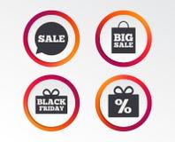 Значок пузыря речи продажи Черный символ пятницы Стоковая Фотография