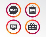 Значок пузыря речи продажи Черный символ пятницы Стоковые Фото
