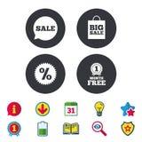 Значок пузыря речи продажи Символ звезды скидки Стоковое Изображение
