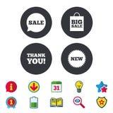 Значок пузыря речи продажи Спасибо символ Стоковое Изображение