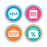 Значок пузыря речи продажи Черный символ пятницы Стоковая Фотография RF