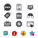 Значок пузыря речи продажи Черный символ пятницы Стоковые Изображения RF