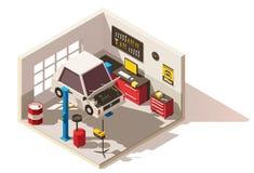 Значок пункта обслуживания автомобиля вектора равновеликий низкий поли иллюстрация штока
