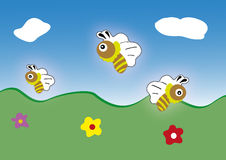 Значок пчелы вектора. шарж милый Стоковое Изображение RF