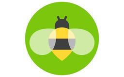 Значок пчелы изолированный на зеленой предпосылке Пчела летания меда насекомое иллюстрация штока