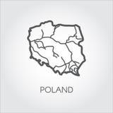 Значок плана карты Польши Эмблема простоты контура Vector форма страны для атласа и других дизайн-проектов Стоковые Изображения